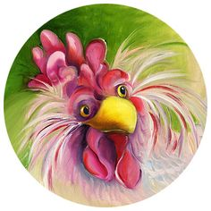 "Sarah Pinyan posted ""pretty in pink chicken"" by Amy Hautman to her -nice signs- postboard via the Juxtapost bookmarklet. Rooster Painting, Rooster Art, Tole Painting, Painting & Drawing, Chicken Painting, Chicken Art, Art And Illustration, Chickens And Roosters, Galo"