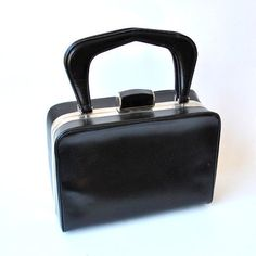 60s mod purse / black vinyl purse / black by RockAndRollVintage