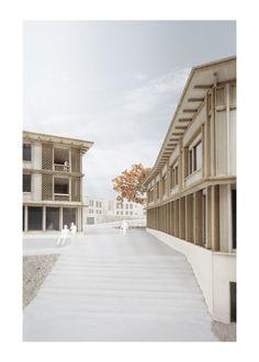 Scheibler & Villard | Projekte Wood Architecture, Contemporary Architecture, Arch Model, Garden In The Woods, Wood Texture, Love Design, Facade, Stairs, Layout