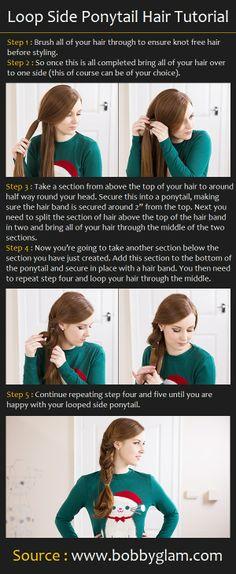 Loop Side Ponytail Hair Tutorial | Pinterest Tutorials