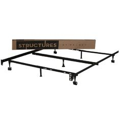 STRUCTURES By Malouf Heavy Duty 7 Leg LINENSPA Adjustable Metal Bed Frame With Center Support And Rug Rollers