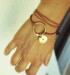 Leather wrap Bracelet, Κarma bracelet, Brass link and leather cord, Personalized Bracelet, Initial Disc Charm Bracelet