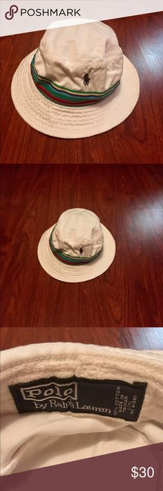 Polo hat Polo by Ralph Lauren white with multi colored hat size l/xl Polo by Ralph Lauren Accessories Hats
