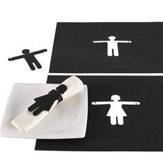 Manteles individuales con servilleteros extraíbles