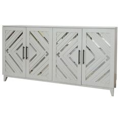 Bring home this striking solid wood sideboard that showcases the angled mirror on the front door. This white sideboard is the perfect piece to inspire your room with function and rustic style.