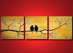 Large painting gold love birds, ORIGINAL bedroom wall art,Tree Painting with flowers, canvas romantic gift home 60 inches abstract. $269.00, via Etsy.