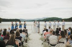 Wedding ceremony on Lake Chatuge in North Georgia. Outdoor wedding venue with lake and mountain views.