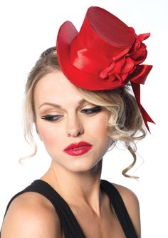 Red Satin Top Hat With Rose - Unique Vintage - Cocktail, Pinup, Holiday & Prom Dresses.
