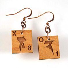 Klingon Scrabble Earrings - Choose your letters by XOHandworks.com $13