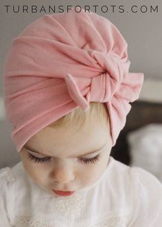 Pink baby turban hat with bow turbans for tots by turbansfortots