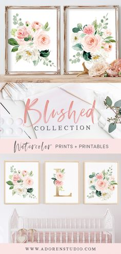 "Gorgeous watercolor florals in small and large sizes + watercolor floral alphabet!  Download includes entire alphabet and bouquets in size 5x7"", 8x10"", 11x14"" or 16x20"".  Available for INSTANT download or as prints mailed to your door!  Makes for gorgeous nursery, office or home decor!"