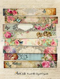8 printable romantic art strips 3 multipurpose victorian style images for scrapbooking bookmarks Decoupage Vintage, Decoupage Paper, Vintage Paper, Decoupage Furniture, Painted Furniture, Thrift Store Furniture, Painted Walls, Furniture Projects, Furniture Sets