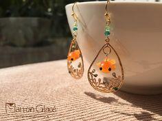 Fish Jewelry,Goldfish,Fish Earrings,Swarovski Earrings,Dangle Gold Earrings,Polymer Clay,Kawaii Earrings,cute,Waterdrop,gold,emerald green