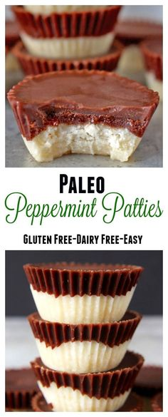 Make any occasion a hit with lactose freindly dairy free desserts Paleo Peppermint Patties- only 5 ingredients and a little mixing and you have a delicious healthy treat! Gluten free, dairy free, and so amazing! Dessert Sans Gluten, Gluten Free Sweets, Paleo Dessert, Low Carb Desserts, Healthy Sweets, Dairy Free Recipes, Vegan Desserts, Paleo Recipes, Whole Food Recipes