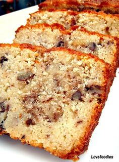 Moist Pecan Almond Loaf Cake - Lovefoodies hanging out! Tease your taste buds! Baking Tins, Baking Recipes, Cake Recipes, Dessert Recipes, Dessert Ideas, Bread Recipes, Vegan Recipes, Almond Bread, Almond Cakes