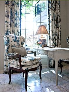 Toile drapes in blue and white Charles Faudree Prints