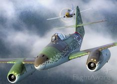 """MESSERSCHMITT Me-262 Replica (N262MF)   The Military Aviation Museum's North American P-51D Mustang """"Double Trouble Two"""" closes in tight on their Messerschmidt Me-262 Scwalbe for the kill over the extremely hostile skies of Virginia"""