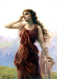 Edouard Bisson (1856 - 1939)  Born in Paris in 1856, Bisson studied art under one of the most successful of French artists, Jean Leon Gerome. He exhibited regularly at the Salon of French Artists of which he was a member.  The artist is a Parisian, a pupil of the Ecole des Beaux Arts, and a popular painter of sentimental and decorative subjects.