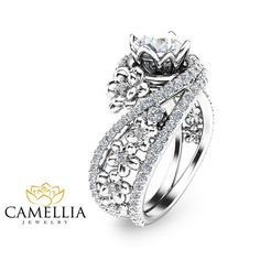 14K White Gold Diamond Engagement Ring Unique by CamelliaJewelry