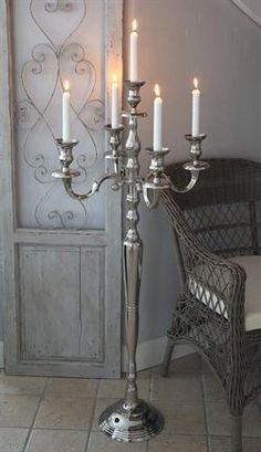 Kandelaber - 5 Armet Sølv Decor, Candle Holders, Candle Lanterns, Ceiling Lights, Candles, Lanterns, Ceiling, Home Decor, Chandelier