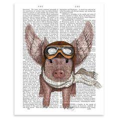 FabFunky - Aviator Piggy, Unframed Dictionary Print, 20.5x28cm