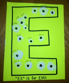 We all worked together to make eyes for the letter E.