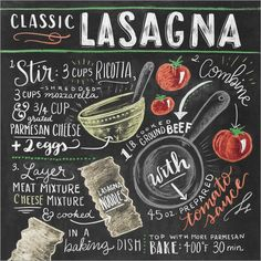 Classic Lasagna recipe at Posterlounge ✔ Affordable shipping ✔ Secure payment ✔ Various materials & sizes ✔ Buy your print now! Chalkboard Lettering, Chalkboard Designs, Blackboard Chalk, Classic Lasagna Recipe, Deco Pastel, Recipe Drawing, Lily And Val, Chalk It Up, Chalk Art
