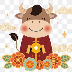 Chinese New Year Greeting, Happy Chinese New Year, New Year Greetings, New Year Cartoon, Cartoon Cow, Cow Illustration, New Year Illustration, Chinese New Year Design, Chinese New Year Crafts