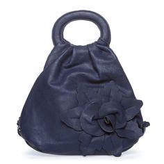 Aledo- satchel with distinctive shape and a romantic floral-motif applique