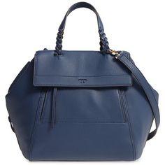 Women's Tory Burch 'Half-Moon' Leather Satchel ($650) ❤ liked on Polyvore featuring bags, handbags, royal navy, blue leather purse, leather satchel purse, navy leather purse, tory burch purse and leather satchel handbags