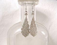 Art Deco Silver Lace Earrings, Sterling Dangle Art Nouveau Bridesmaid Earrings Bridal Drops 1920 Boho Old World Victorian Vintage Inspired by AmoreTreasure on Etsy https://www.etsy.com/listing/262724132/art-deco-silver-lace-earrings-sterling