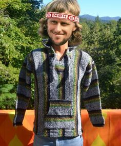 80s vintage BAJA shirt hood stripe surf poncho mexico authentic drug rug hoodie sweatshirt Medium Small at SkippyHaha.com