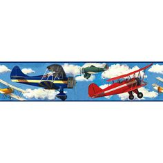 RoomMates Repositionable Childrens Wall Sticker Border Vintage Planes