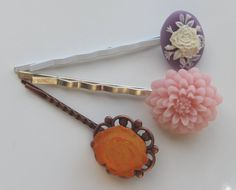 Victorian Bobby Pins  Floral Cameo Pink Mum by RetroCuties on Etsy, $9.99