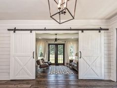 Fixer upper barndominium More Remember the barn Chip and Joanna completely renovated into a stunning home? Well, now you can rent the Fixer Upper Barndominium for your next getaway! Fixer Upper Barndominium, Double Barn Doors, Interior Barn Doors, Barn Door Hardware, Door Latches, Future House, House Plans, New Homes, House Design
