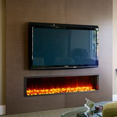 The Dynasty Built-In Electric Fireplace - is unique, modern fireplace with memorizing flame effects & contemporary ember bed. Wall Mounted Fireplace, Tv Above Fireplace, Fireplace Inserts, Modern Fireplace, Fireplace Design, Fireplace Ideas, Electric Fireplaces Direct, Recessed Electric Fireplace, Dimplex Electric Fireplace