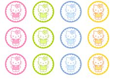 FREE HELLO KITTY PARTY CIRCLES...great to use for cupcakes toppers, gift tags or hang from twine as decorations in a window or doorway. Two previous posts are for free Hello Kitty menu/place cards and bottle labels.