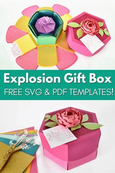 Free SVG and pdf gift box templates Exploding Gift Box, Paper Flower Tutorial, Paper Flowers, Cricut, Paper Crafts, Templates, Projects, Gifts, Log Projects