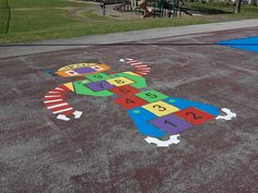 Our Robot Hopscotch is a fun, friendly way for your kids to stay active during the school day. With summer approaching, it's perfect for summer camps, too! Playground Painting, Washable Paint, Custom Stencils, Paint Supplies, Summer Camps, Stay Active, Outdoor Playground, Hopscotch, Play Spaces
