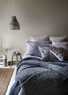 a dove grey bedroom with layered navy blue and blue bedding and a wicker lampshade Dove Grey Bedroom, Grey Bedroom Design, Blue Bedroom, Master Bedroom, Scandi Bedroom, Home Decor Bedroom, Diy Home Decor, Bedroom Ideas, Trendy Bedroom