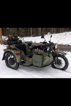 My kind of motorcycle. Side car with a machine gun