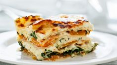 Squash and Broccoli Rabe Lasagna. This vegetarian revelation balances the meaty sweetness of butternut squash with bitter broccoli rabe and a creamy sauce. Vegetarian Main Dishes, Vegetarian Recipes, Cooking Recipes, Vegetarian Lasagne, Cheese Recipes, Fast Recipes, Healthy Recipes, Lasagna Recipe Bon Appetit, Baked Lasagna