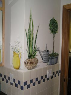 Plants thrive in this master bath without the need of water, but the watering can adds a nice touch of texture and interests. Decor, Painted Furniture, Wall Paint Designs, Wall Decor, Mural Wall Art, Wall Painting Decor, Home Decor, Wall Murals Painted, Decorative Painting