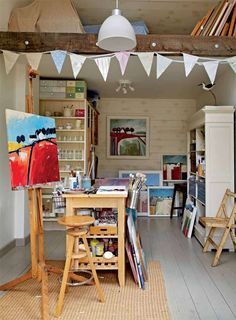 Artists studio workshop in semi-detached farmhouse