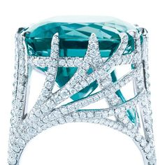 Tiffany & Co  Screen Gem  Tiffany Peacock ring with a cushion-cut blue tourmaline and diamonds in platinum