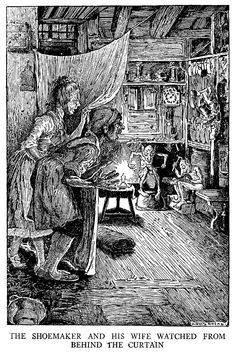 The Elves and the Cobbler - Black and White Illustration by Louis Rhead from 'Grimm's Fairy Tales – Stories and Tales of Elves, Goblins and Fairies – with Louis Rhead Illustrations' originally published in 1917