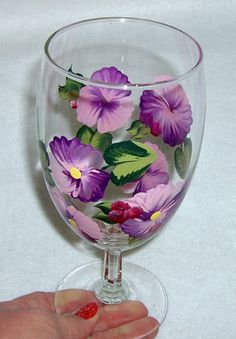 Pansy Water Goblet Hand Painted by ConniesCreations2010 on Etsy, $11.00