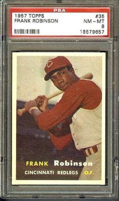 SUPERB 1957 TOPPS #35 FRANK ROBINSON ROOKIE RC PSA 8 NM-MT BASEBALL CARD!