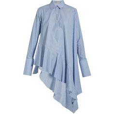 Palmer//harding Asymmetric ruffled-hem cotton shirt (3.615 ARS) ❤ liked on Polyvore featuring tops, light blue, stripe shirt, cotton shirts, light blue top, shirt crop top and ruffled shirt