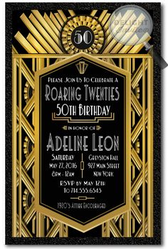 Art Deco Roaring 20s Gatsby 50th Birthday Party Invitations Printed Gold And Black 1920s Theme